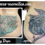 Tatouage recouvrement dragon corbeau
