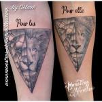 Tatouage de couple lion lionne