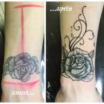 Tatouage recouvrement rose