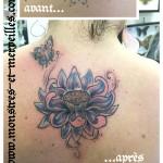 Tatouage recouvrement lotus