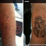 Tatouage de recouvrement - Ancre marine