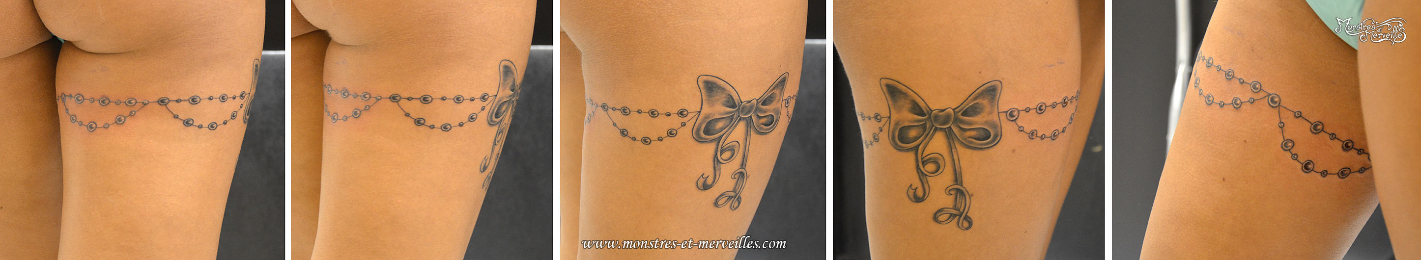 tatouage cuisse femme jarreti re noeud. Black Bedroom Furniture Sets. Home Design Ideas
