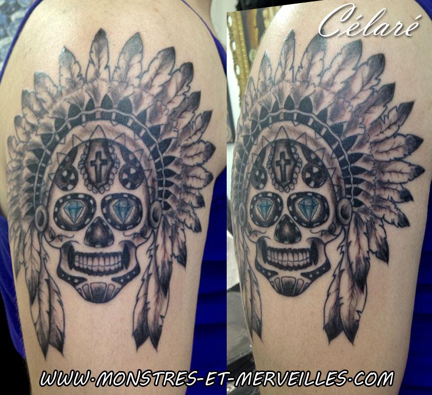 Galerie tatouages crane tattoo - Tatouage crane indien ...