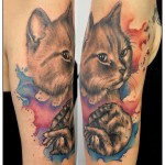 Tatouage de chat et aquarelle