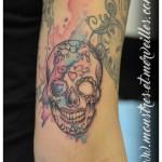 Tatouage crâne aquarelle