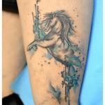 Tatouage cheval aquarelle